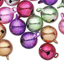 25 Ice Flake Multi Colors Jingle Bells with Clapper ~  12mm  *