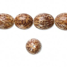 1 Strand Natural Betel Nut Waxed 15x10mm Oval Beads