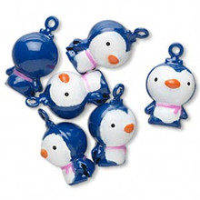 6 Adorable Blue Penguin Bell Charms ~  21x16mm
