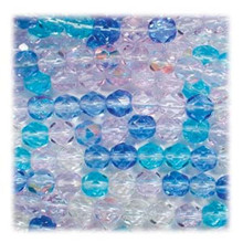 50 Czech Fire Polished 8mm Glass Beads ~ Caribbean Blue MIX