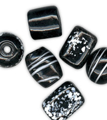 500 Grams X-Large Opaque Black White Lampwork Glass Beads Mix *