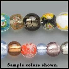 """15"""" std Lampwork Glass Multi Round Beads 8-14mm Mix"""