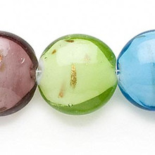 1 Strand Lampwork Glass Multi Puffy Coin Beads ~ 23mm