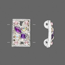 2 Silver Plated Pewter with Purple Rhinestones Spacer Slider Links