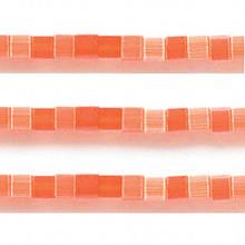 1 Strand Dark Orange Cat's Eye Fiber Optic Glass 4x4mm Square Cube Beads *