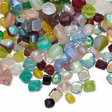 50 Grams Czech Aurora Borealis Glass Bead Mix  ~ 4-8mm