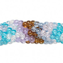 5 Strands Multi Colored Crackle Glass 3-4mm Round Bead Mix *