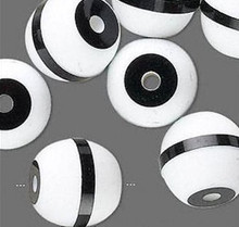 20 Black White Striped Acrylic Round Beads 16mm *