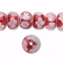 1 Strand Lampwork Glass Beads Red with Pink Flowers ~ 12x8mm *