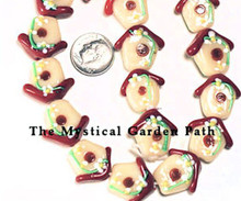 5 Lampwork Glass Red Cream Bird House with Flowers Beads *