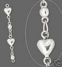 6 Silver Plated Brass Heart Chain Extender ~ 33mm long