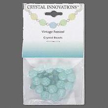 24 Vintage Light Aqua Czech Fire Polish 8mm Glass Beads with Swarovski Crystals *