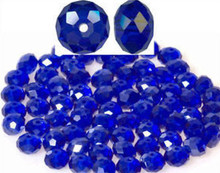 1 Strand Cobalt Blue Faceted Glass 8x5mm Rondelle Beads *