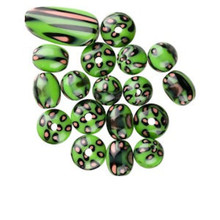 19 Piece Lime Green Acrylic Focal Component & Bead Set  *
