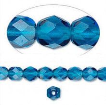 1 Strand Czech Fire Polished Faceted Round Glass Beads ~ 6mm ~  Dark Aqua Blue