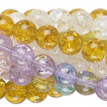 Wholesale 10 Strands 9-10mm Crackle Glass Round Bead Mix *