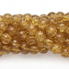 1 Strand Honey Amber 9-10mm Round Crackle Glass Beads *