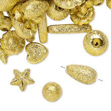 100 Grams Gold Stardust Acrylic Assorted Beads ~ Approx 300-400 Beads *