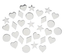 30 Acrylic Craft Mirrors ~ Assortment of Hearts, Circles, Stars & Diamonds