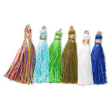 "12 Imitation Silk E Multicolor Tassels ~ 2"" Long with French Wire"