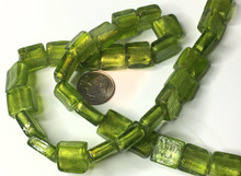 30 Peridot Green Lampwork Glass Square Foil 12mm Beads  *