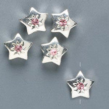 5 Silver Plated Pewter Star Beads 10mm with Swarovski Rose Crystals  *