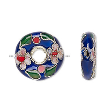 4 Gold Plated Cobalt Blue Donut Cloisonne Beads ~ 20mm