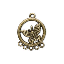 20 Antiqued Brass Pewter Butterfly Connector Drops  *
