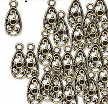 100 Antiqued Brass Pewter Teardrop ~ 11x6mm Charms  *