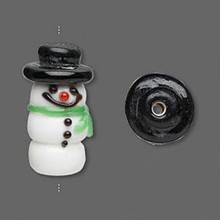 2 Lampwork Glass 3 Tier Snowman with Hat Beads ~ 25x12mm