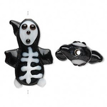 2 Lampwork Glass Black & White Skeleton Halloween Beads ~ 27x21mm