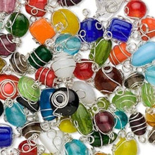 100 grams Silver Plated Wire Wrapped Glass Beads Mix Connectors