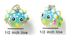 4 Adorable Resin Tropical Blowfish Charms ~  3 Dimensional Fish
