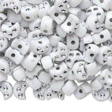 50 Grams Opaque White Acrylic 8x5mm Half Moon Beads *