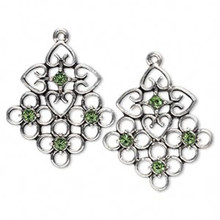 2 Antiqued Silver Pewter Square with Swarovski Peridot Crystals  *