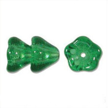 25 AB Transparent Green Czech Glass Flower Cone Beads ~ 11x13mm  *