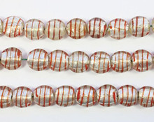 24 Clear Striped Red  Lampworked Glass Silver Foil 10mm Round Beads *