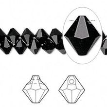 12 Swarovski Crystals Jet Black  ~ 6mm Top Drilled Faceted Bicone ~ 6301