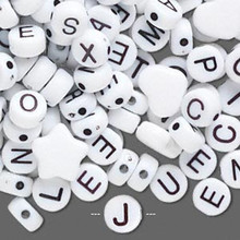 250 White Acrylic 2 Sided Alphabet Coin Beads ~ 6.5mm *