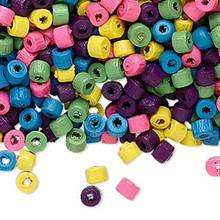 Heishi Wooden Bead Mix ~4x3mm Pink Blue Green Yellow Purple