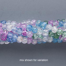 1 Strand Multi Color Crackle Glass 3-4mm Round Bead Mix *