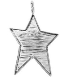 1 Large Silver Plated Primitive Star Mount Pendant Base ~ 50x38mm  *