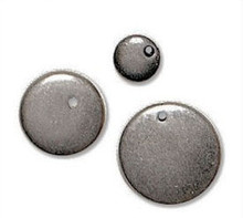 16 Antiqued Silver Metalized Plastic Round Disc Charms *