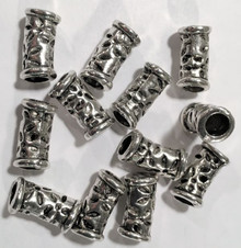 12 Antiqued Silver Curved Tube Cylinder Filigree Beads  *