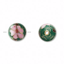 10 Gold Plated Green Cloisonne Round 12mm Beads
