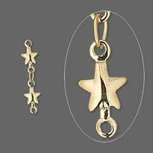 6 Gold Plated Brass Star Chain Extender  ~ 20mm Long
