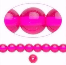 1 Strand Czech Glass Druk Transparent Hot Pink Round Beads ~ 6mm