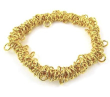 1 Gold Plated Bungee Bracelet ~ Stretchable Metal Chain ~ Just Add Charms!