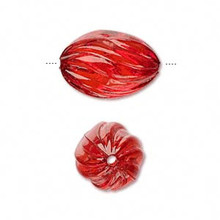 100 Grams Fluted Acrylic Transparent Red 20x13mm Oval Beads