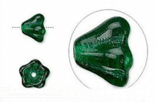 1 Strand Emerald Green Czech Glass Flower Cone Beads ~ 8x6mm